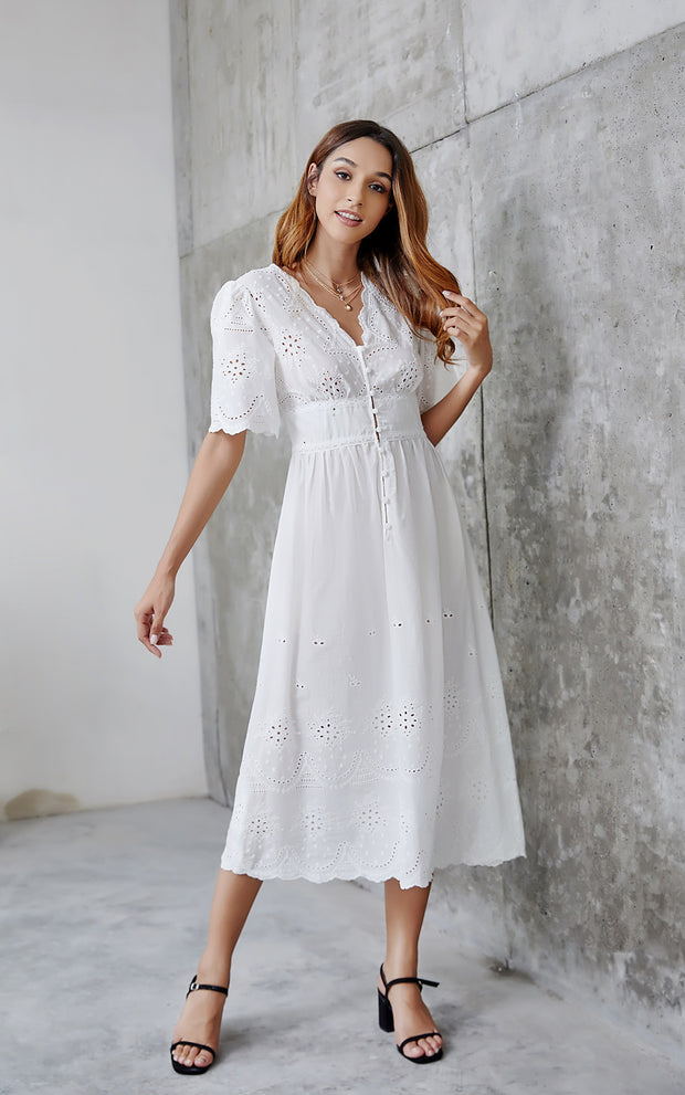 Hollow Embroidered V Neck Elegant Bohemia Dresses