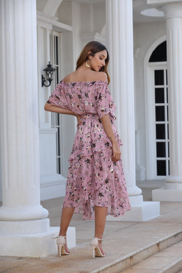 Off The Shoulder Printed Elastic Sexy Bohemia Dresses