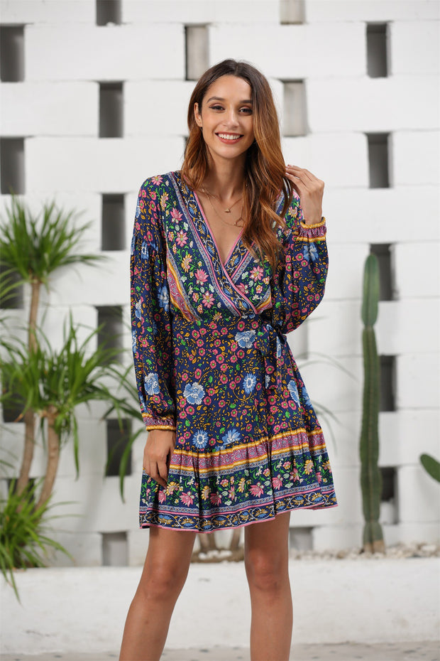 Pleated Deep V-neck Long Sleeve Printed Mini Dresses