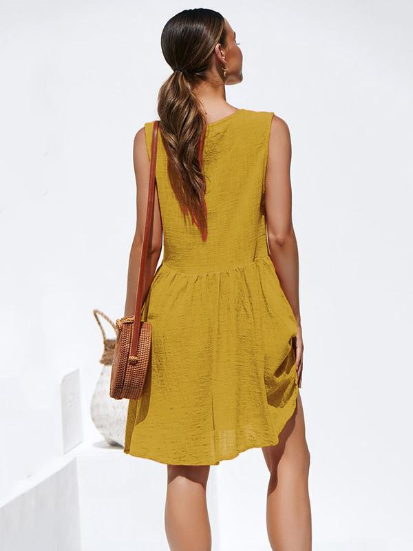 Fashion Round-neck  Sleeveless Pleated Mini Dresses