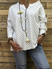 V Neck Casual Polka Dots Long Sleeve T-Shirts