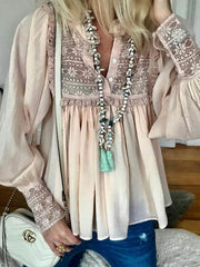 Pink Guipure Lace Long Sleeve V Neck Blouse