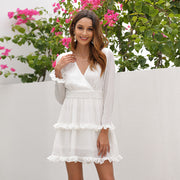 Chiffon V-neck Ruffled Long Sleeve Mini Dress