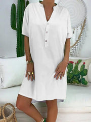 Solid V-neck With Button Mini Dress