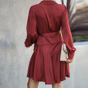 Long Sleeve Vintage Belted Silk Party Mini Dress