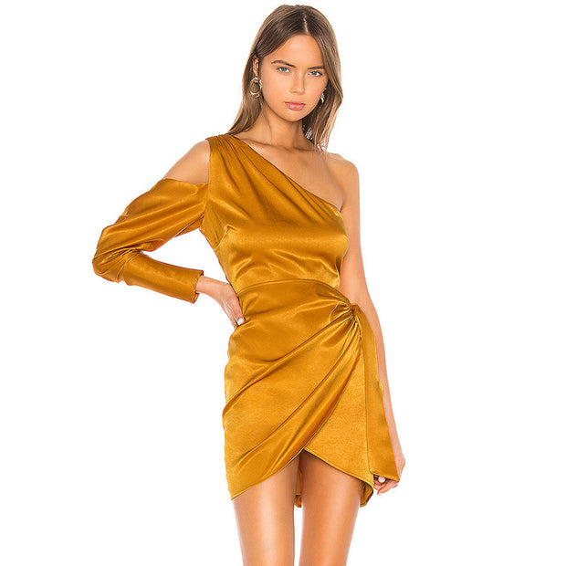 One Shoulder Solid Color Irregular Chic Mini Dresses