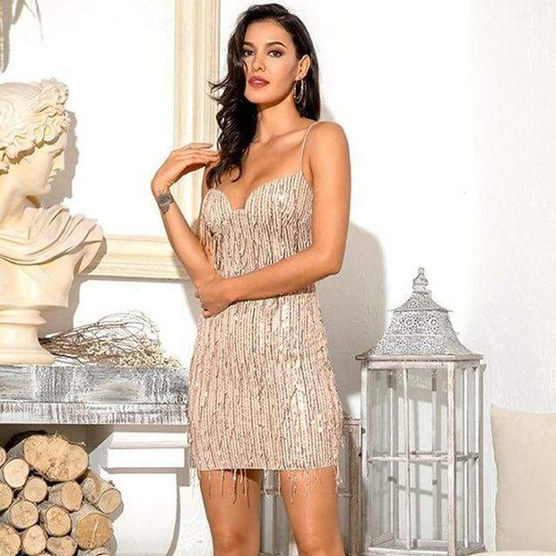 Sexy Backless Tassels V-Neck Sling Party Mini Dress
