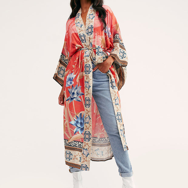 Bohemia Printed Long Sleeve Beach Cotton Cover Ups