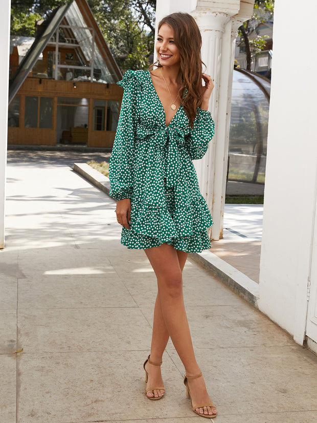 Printed Boho Bow-tie V-neck Mini Dresses