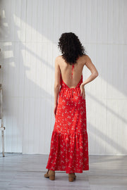 Chiffon Off Shoulder Halter Sexy Backless Floral Bohemia Dresses