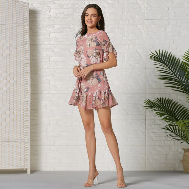 Floral Chiffon Pleated Sexy Mini Dresses