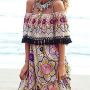 Tassel Slash Neck Print Off The Shoulder Plus Size Bohemia Dresses