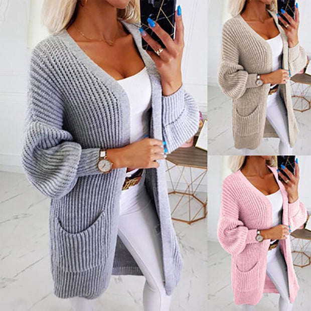 Casual Solid-Color Long-Sleeved Cardigan