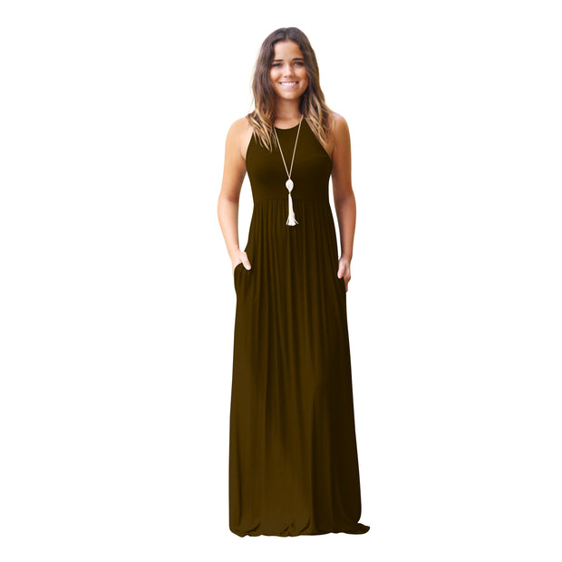 Sleeveless Loose Double Pocket Solid Color Maxi Dress