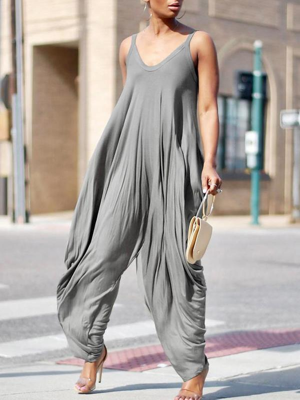 Loose Gray Sleeveless Ruffled Jumpsuits