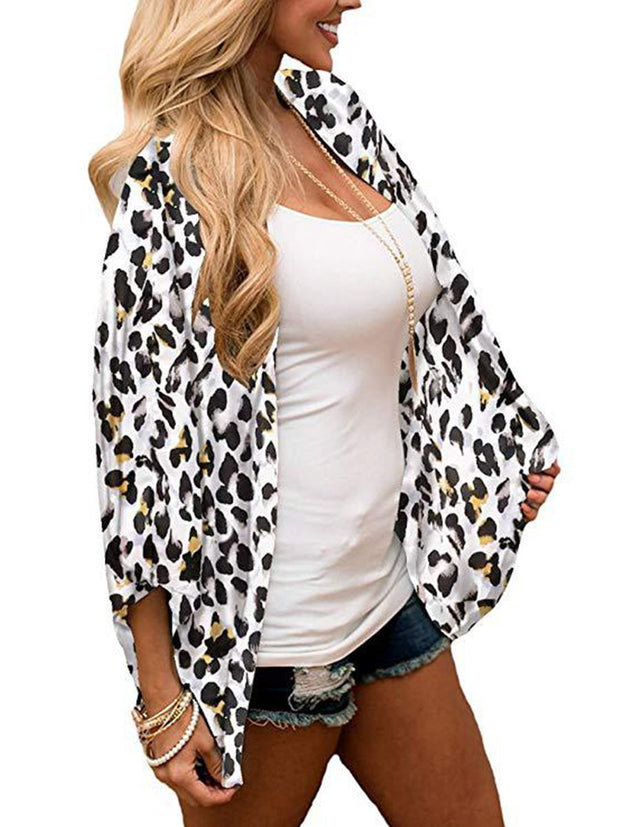 Solid Color Chiffon Printed Cardigan