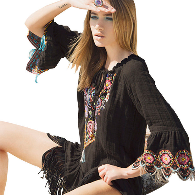 Embroidery Tassel  Loose Flare Sleeve V Neck Bohemia Dresses