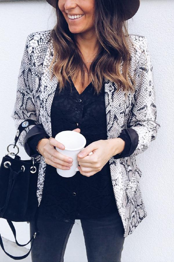 Snakeskin Suit Jacket Coat