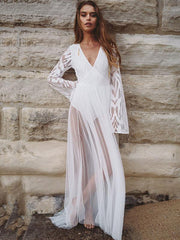 Flared Sleeves See-through Maxi Dress