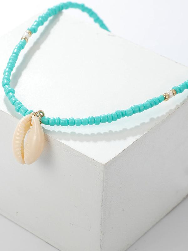 Natural Turquoise Conch Shell Necklace