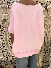 Off-The-Shoulder Seven-Quarter Sleeve T-Shirt