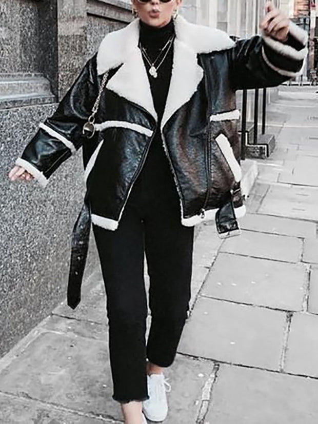 Fashion Faux Leather Composite Fur Loose Long Sleeve Jacket