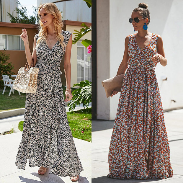 V-neck Printed Lace-up Beach Maxi Dresses