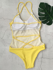 Backless Plain One-piece Swimwear