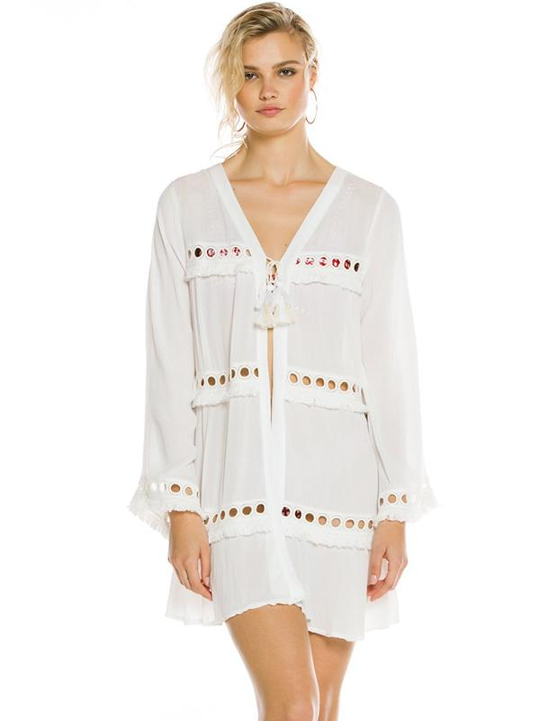 Bandage Hollow Ruffled Cover-ups