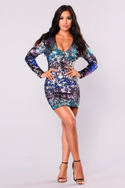 Sequin Bling V-neck Long Sleeve Dazzling Mini Dress