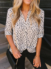 Casual Stand Collar Leopard Shirt