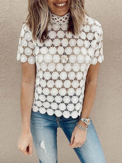 Sun Flower Lace Hollow Half-high Collar Blouse