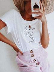 Casual Round-neck Short Sleeves Loose T-shirt