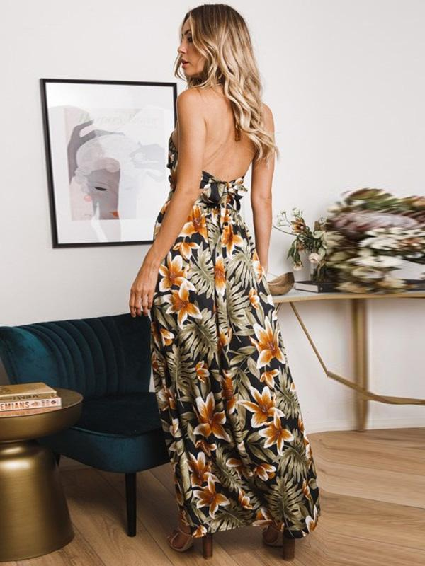 Printed Split-side Hollow Spaghetti-neck Maxi Dress