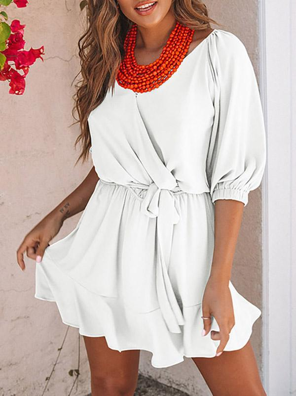 V-neck Casual Bandage Mini Dress