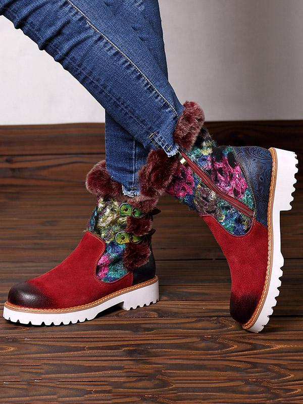 Bohemia Vintage Warm Leather Booties
