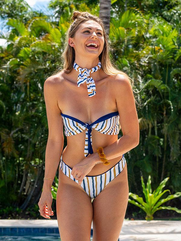 Sexy Striped Bow-embellished Bikini