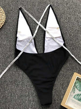 Plain Lace Up Backless One Piece Swimsuit