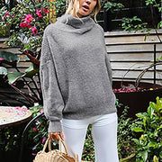 Casual Loose Turtleneck Long Sleeve Solid Color Sweater