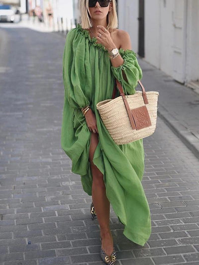 Solid Long Puff Sleeves Maxi Dress