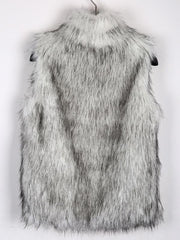 Stand Collar Vest Faux Fur Coat