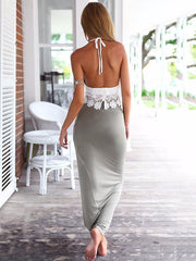 White Lace Spaghetti-neck Vest and Long Skirt Suits