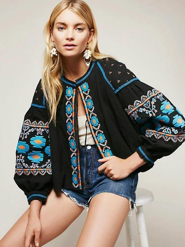 Embroidered Bohemia Puff Sleeves Outwear Tops