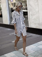 Stripes Lapel Collar Blouses&Shirts Top