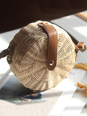 Handmade Round Straw Plaited Article Bohemia Bag