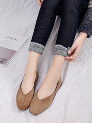 Simple Comfortable Square Head Suede Shoes