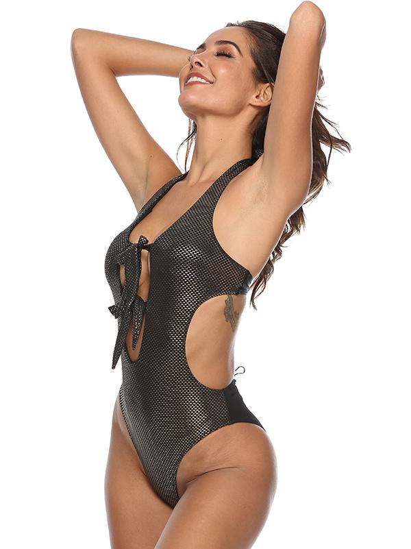 Tied Front Plain One-Piece Swimsuit