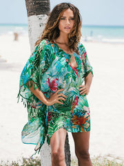 Small Bird Printed Cover-up Swimwear