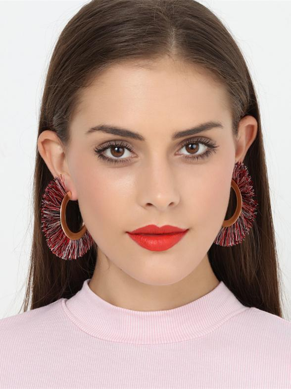 Fashion Bohemia Fan-shaped Tassel Alloy Earrings