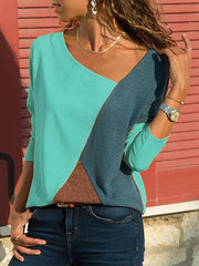 Split-joint Color Round-neck T-Shirt Tops